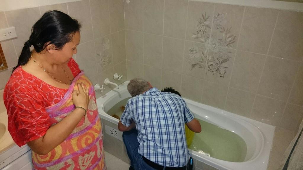 baptism in a bathtub
